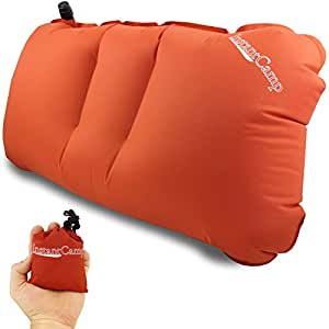 2.4 oz. Ultralight Backpacking / Camping Inflatable Air Pillow - Perfect and Convenient for Carry On Travel, Sport Events, Motorcycle Trips, Trains and Lumbar Support By Instant Camp (Orange)