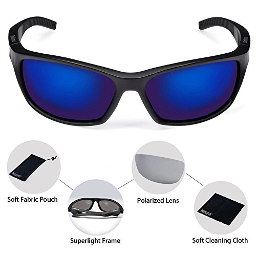 Duduma Polarized Sport Mens Sunglasses for Baseball Fishing Golf Running Cycling with Fashion Women Sunglasses and Men Sunglasses Tr80821 Flexible Superlight Frame (Black matte frame, Blue lens)