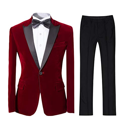 Mens 2-Piece Suit Peaked Lapel One Button Tuxedo Slim Fit Dinner Jacket & Pants (Red, XXX-Large)