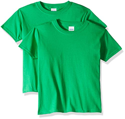 Gildan Kids' Big Heavy Cotton Youth T-Shirt, 2-Pack, Irish Green, Medium ()