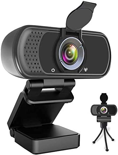 Webcam HD 1080P, Web Camera with Microphone, USB Desktop Laptop Camera with110-Degree View Angle, Stream Webcam for Video Calling and Recording Conferencing, Gaming,with Webcam Cover and Tripod