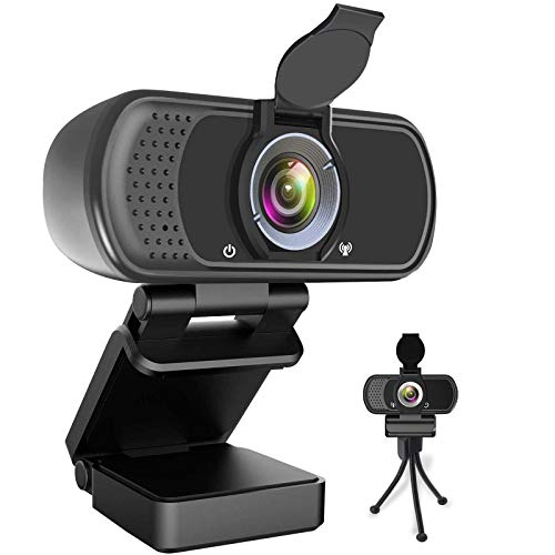 Webcam HD 1080P,Webcam with Microphone,USB Desktop Laptop Camera with 110 Degree Widescreen,Stream Webcam for Calling, Recording,Conferencing, Gaming,Webcam with Privacy Shutter and Tripod