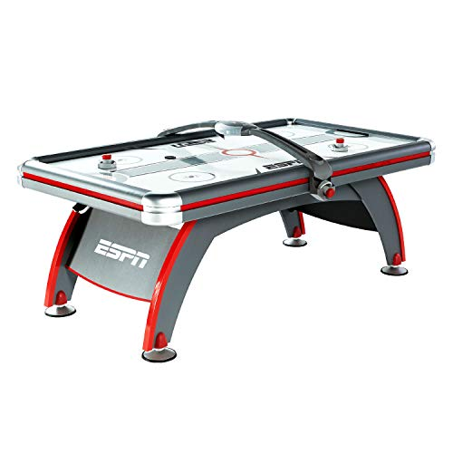 (ESPN Air Hockey Game Table: 84 inch Indoor Arcade Gaming Set with Electronic Overhead Score System, Sound Effects, Cup Holders, Pucks and Paddles)
