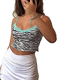 e-Girl Spaghetti Strap Floral Graphic Cropped Tops Y2K Print Backless Camis Tops