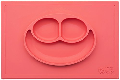 ezpz Happy Mat - One-piece silicone placemat + plate (Coral)