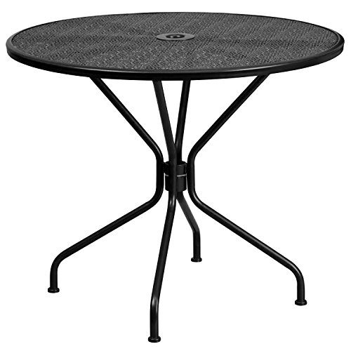 Flash Furniture 35.25'' Round Black Indoor-Outdoor Steel Patio Table (Steel Patio Furniture)