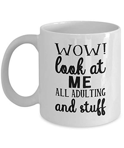Wow Look At Me Adulting And Stuff Funny Coffee Mug Gift for Coworker Funny Mug for Her or Him Adulting Mug Graduation Gift White Ceramic Mug (Me And Him Or Him And Me Grammar)
