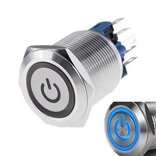 WerFamily 22mm Latching Push Button Switch 1NO 1NC SPDT ON/Off Waterproof Stainless Steel Metal Round with Blue LED Angel Eye + Power Indicator