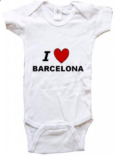 I LOVE BARCELONA - BARCELONA BABY - City Series - White Baby One Piece Bodysuit - size Newborn (0-6M) ()