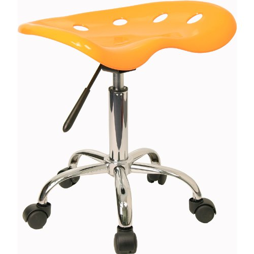 Flash Furniture Vibrant Orange-Yellow Tractor Seat and Chrome Stool - LF-214A-YELLOW-GG