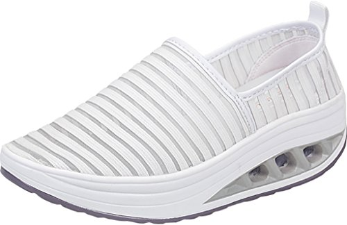 Gaatpot Women's Soft Breathable Mesh Shoes Ladies Lightweight Slip on Height-Increasing Wedges Platform Shoes White iU1KASk