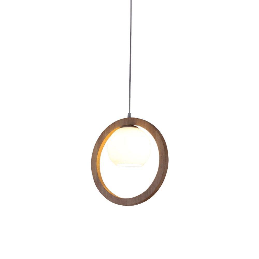 Moderne minimalistische hölzerne Leuchter Kreativer Ringleuchter Milchiger weißer Glaslampenschirmleuchter Für Schlafzimmernachtesszimmerstudie, D31cm H31cm E27