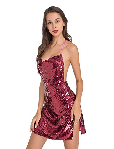 Lomantise Women's Sexy Glitter Dresses for Women Party Night Club Halter High Slit Mini Short Sequin Dress]()