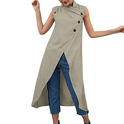 Aniywn Women's Solid Color Split Cotton Linen Maxi Dress Loose Sleeveless Casual Button Dresses