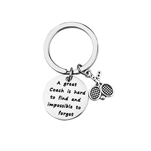 ENSIANTH Tennis Coach Gift Tennis Keychain Coach Jewelry A Great Coach is Hard to Find and Impossible to Forget Keychain (Coach Key-Tennis)