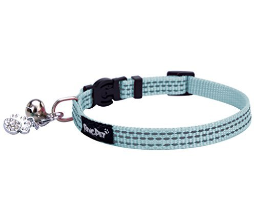 BINGPET Safety Nylon Reflective Cat Collar Breakaway Adjustable Cats Collars with Bell and Bling Paw Charm, Light Blue