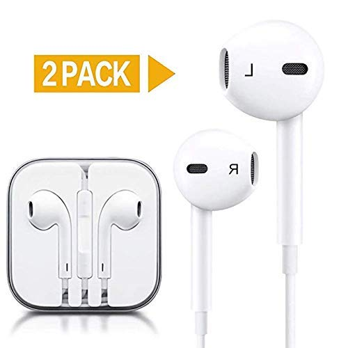 in-Ear Earbuds Headphones, Parmeic 2 Pack Wired Earphones Stereo Bass Noise Cancelling Ear Buds Headsets with Microphone and Volume Control for All 3.5mm Jack Phones and Tablets (White)