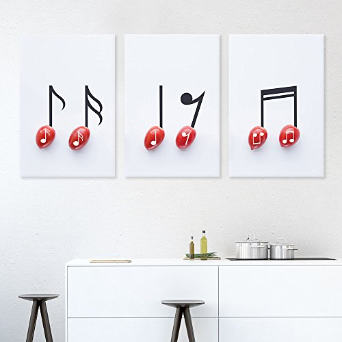 3 Panel Cherry Tomato with Music Notes x 3 Panels