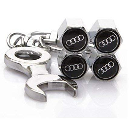 4pcs Silver Valve Cap Stem Cover for Car Protection Valve Core That Compatible Works with S3 S4 S5 S6 S7 S8 SQ5 TTS TT RS Car Wheel Tire 1pc Silver Wrench Keychain