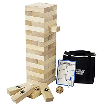 Giant Tumbling Timbers, Gentle Monster Wooden Toppling Tower, Classic Outdoor Games Stacking Toys for Adult Kids Family, Jumbo Hardwood Blocks Lawn Games 56 Pcs 4 Feet