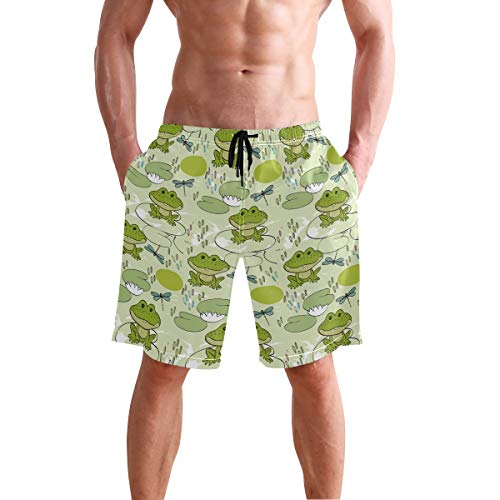 (Ainans Small Pond Frog Dragonfly Men's Swim Trunks Beach Shorts with Pockets)