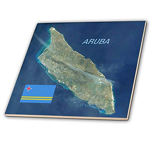 3dRose Lens Art by Florene - Topo Maps and Flags - Image of Aerial Topo View with Flag of Aruba - 4 Inch Ceramic Tile (ct_306862_1)