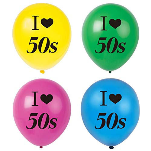 MAGJUCHE I Love 50s Balloons, 16pcs 1950s Rock Themed Party Decorations, Supplies