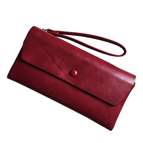 ladies Leather Wristlet organizer with phone slot large capacity (Red2) ()