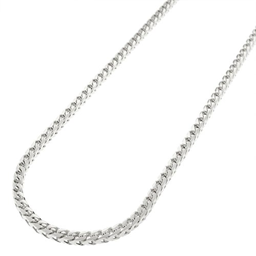 Sterling Silver Italian 2.5mm Solid Franco Square Box Link 925 Rhodium Necklace Chain 16'' - 30'' (20) by In Style Designz