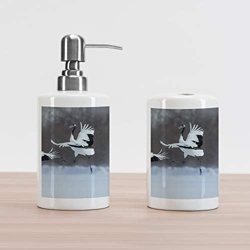 Ambesonne Africa Soap Dispenser and Toothbrush Holder Set, Dancing Pair of Red-Crowned Crane with Open Wings in Flight Romantic Bird Print, Ceramic Bathroom Accessories, 4.5
