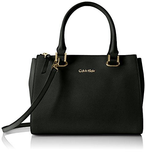Calvin Klein Key Item Small Mercury Saffiano Top Zip Satchel, Black/Gold by Calvin Klein