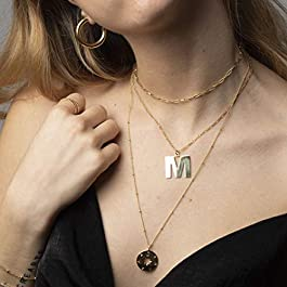18k Gold Satellite Chain Choker Lava Bead Pendant Necklace Dainty Jewelry for Women 16""