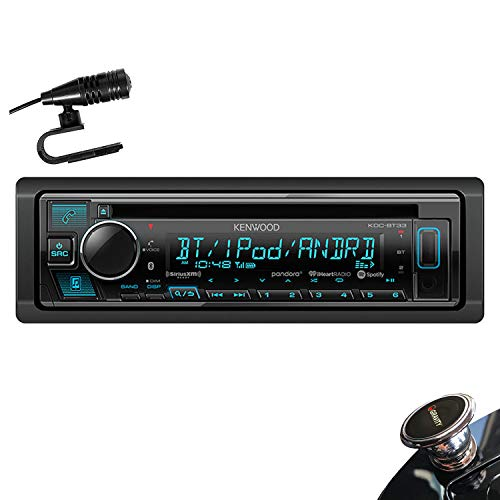 Kenwood KDC-BT33 Single DIN SiriusXM Ready Bluetooth in-Dash CD/AM/FM Car Stereo Receiver w/Pandora, Spotify Control + Gravity Magnet Holder (Kenwood Car Stereo Face)