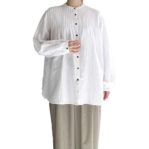 ロッカー受ける沿ってYARRA (ヤラ) YR-84-028  ピンタックマオカラーシャツ 着丈が長めのチュニックシャツ  -オフホワイト-