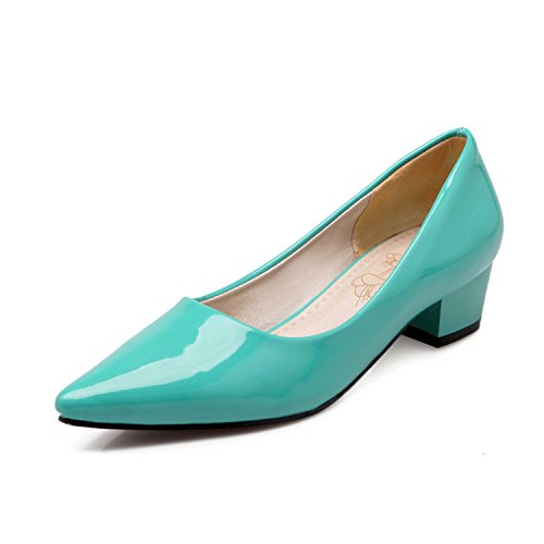 s Patent Leather Sexy Pointed Toe Slip-on Simple Mid Heels Pumps Size 9 (B) M US ()