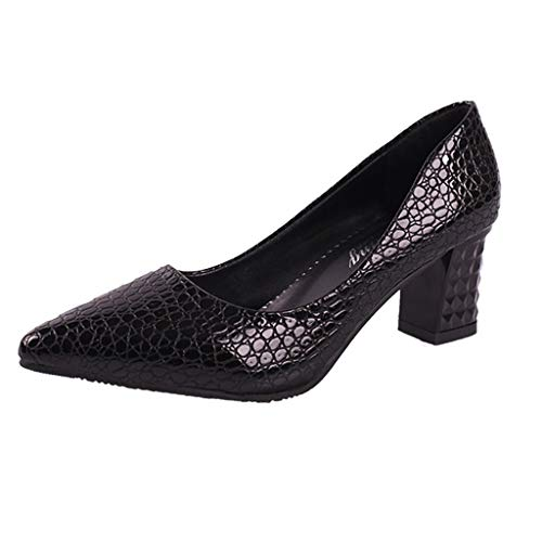 Women Sexy Summer Spring Party Wedding Thick High Heel Dress Pumps Shoes Classic Pointed Closed Toe Single Shoes Black ()