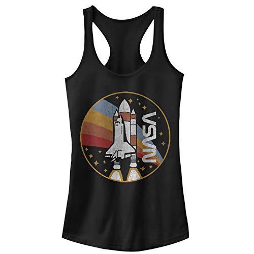 NASA Women's Retro Rocket Logo Ideal Racerback Graphic Tank Top, Black, L
