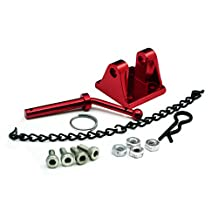 Jack-Store High Quality Alloy Metal Trailer Tow Pintle Hook Chain for 1/10 RC Rock Crawler Truck Axial Scx10 D90 TF2 Red