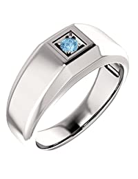 Men`s Genuine December 3mm Round 0.15 tcw. Blue Topaz Gemstone Ring