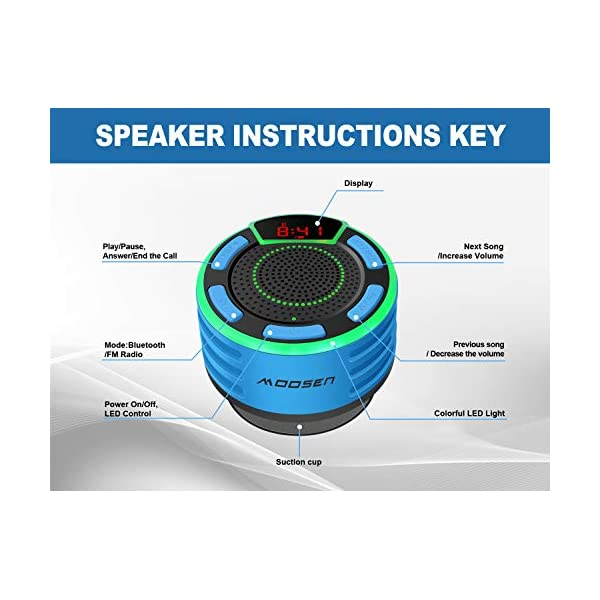 Enceinte Bluetooth, moosen IPX7 étanche Portable sans Fil Haut-Parleur Bluetooth avec FM Radio, LED Display, TWS and Light Show, Waterproof Shower Speaker pour Salle de Bains Pool Plage Outdoor 6