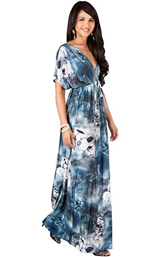 KOH KOH Womens Long Kimono Short Sleeve V-Neck Floral Print Spring Summer Flowy Cute Casual Evening Day Sundress Sundresses Sun Gown Gowns Maxi Dress Dresses, Blue Gray M 8-10