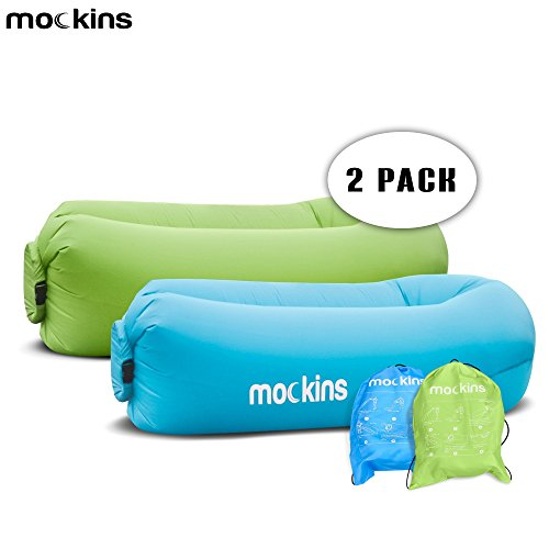 Mockins 2 Pack Inflatable Lounger Hangout Sofa With Travel Bag The Portable Air Couch Is Perfect For Indoor And Outdoor Use
