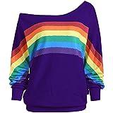 Minisoya Women Casual Long Sleeve Rainbow Printed Pullover Tops T-Shirt Blouse Shirts Loose Off Shoulder Sweatshirt