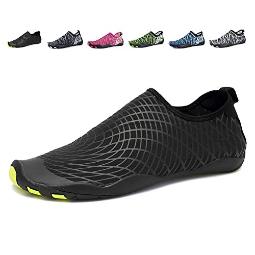 EQUICK Water Shoes Barefoot Quick Dry Aqua Sports Sneakers Slip on for Men Women Kids,CCY01,Y.Black,400