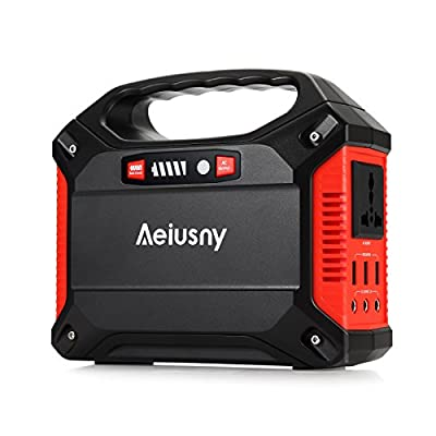 Portable Generator 155Wh Power Inverter Battery Camping CPAP Emergency Home Use UPS Solar Charger Charged by Solar Panel/ Wall Outlet/Car with 110V AC Outlet,3DC 12V,3USB Ports