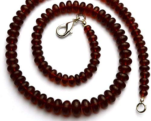 - 1 Strand Natural Hessonite Garnet Smooth Big 6 to 10MM Rondelle Beads 18 Inch by LadoNarayani