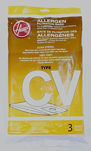 - Hoover Type CV Allergen Filtration Synthetic Central Vacuum Cleaner Bags / 2 pack - Genuine OEM 401011CV w/Dust Seal