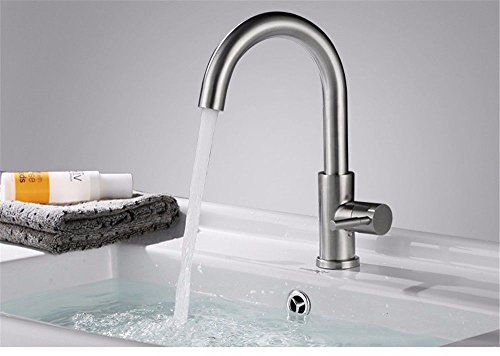 Gyps Faucet Basin Mixer Tap Waterfall Faucet 304 Stainless steel single-sided Tray Faucet Washbasin Faucet brushed cold and hot rotation,Modern Bath Mixer Tap Bathroom Tub Lever Faucet