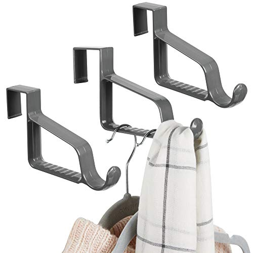 mDesign Modern Over Door Valet Hook - Multi Hanging Storage Organizer, Hook - for Coats, Hoodies, Hats, Scarves, Purses, Bath Towels & Robes - 3 Pack - Charcoal Gray