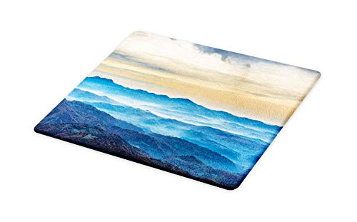 Ambesonne Abstract Oil Painting Cutting Board, Fine Art Composition with Blue Sea, Decorative Tempered Glass Cutting and Serving Board, Large Size, Sand Brown Eggshell Pale Sky Blue Grey ()